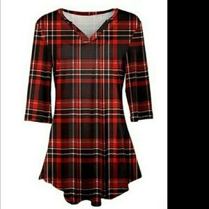 Plaid Flaired Hem Top